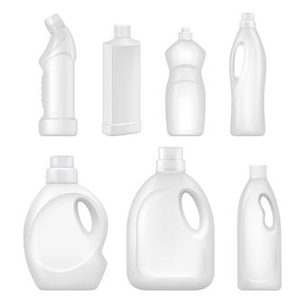 Recipientes sanitários com líquidos químicos para serviços de limpeza