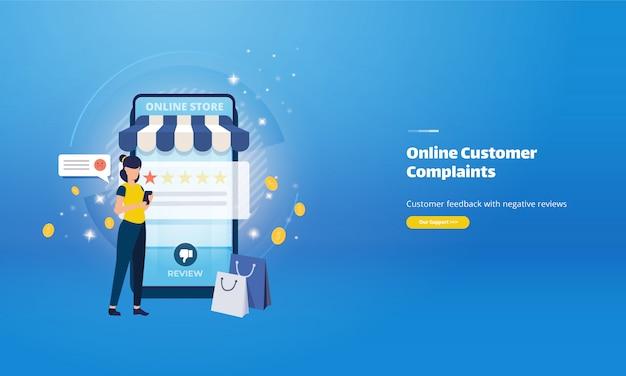 Reclamações de clientes on-line e comentários negativos sobre o conceito de comércio eletrônico