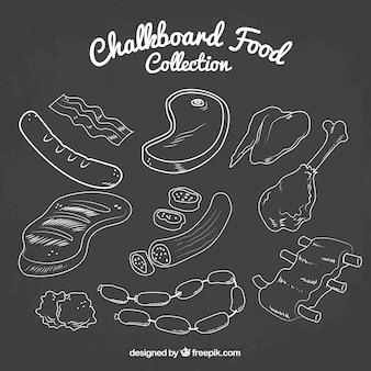 Recolha de alimentos no estilo de quadro-negro