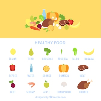 Recolha de alimentos saudáveis com nomes
