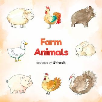 Recolha de animais de fazenda em estilo aquarela