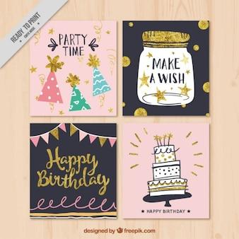 Recolha de cartão de aniversário retro decorativo