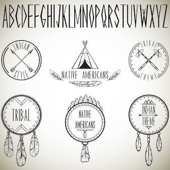 Recolha de elementos de design tribais e ilustração alfabeto vector