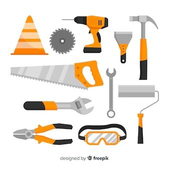 Recolha de equipamento de construção plana