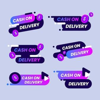 Recolha de etiquetas violeta gradientes em dinheiro na entrega