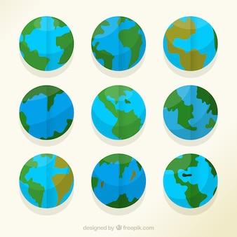 Recolha de globos da terra com diferentes países
