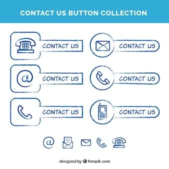 Recolha de mão desenhada botões de contacto