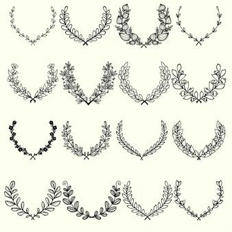Recolha de mão desenhada ervas ramos quadros