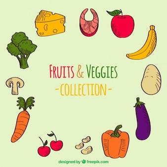 Recolha de mão desenhada frutas e legumes