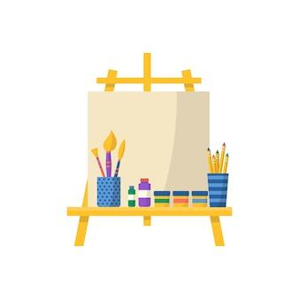 Recolha de material escolar com pincel e tintas. vetor de volta ao fundo da escola com artigos de papelaria. acessórios de escritório.