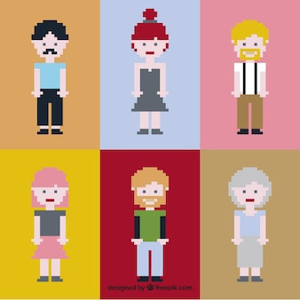 Recolha de pessoas agradáveis pixelizada