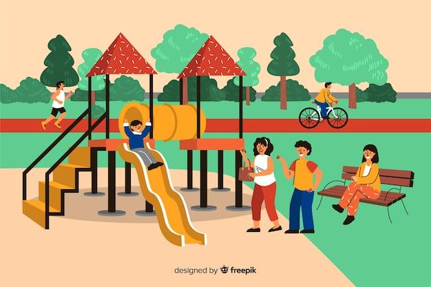 Recolha de pessoas no parque