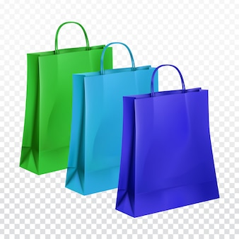 Recolha de sacos de papel em três cores