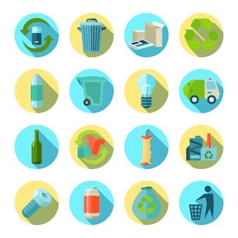 Recolha e redução de resíduos redondos ícones definido com ilustração em vetor plana reciclagem fábrica isolada de sombra