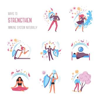 Recomendações para fortalecer o sistema imunológico, regras e ações. durma bem e coma alimentos saudáveis, medite e mantenha a calma, treine na academia e passe o tempo ao ar livre. proteção de vetor de organismo em plano