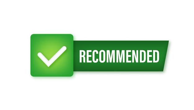 Recomendar ícone. etiqueta branca recomendada sobre fundo verde. ilustração vetorial.