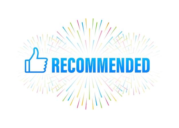 Recomendar ícone. rótulo branco recomendado sobre fundo azul. ilustração de estoque vetorial