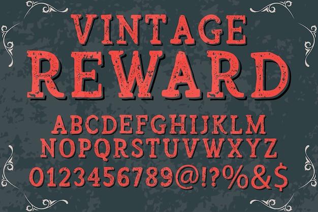 Recompensa de estilo gráfico alfabeto vintage