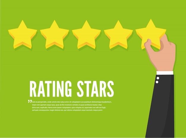 Reconhecimento de feedback. estrelas de avaliação.
