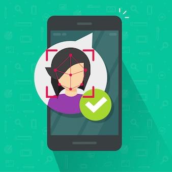 Reconhecimento de identificação de rosto via celular ilustração plana dos desenhos animados