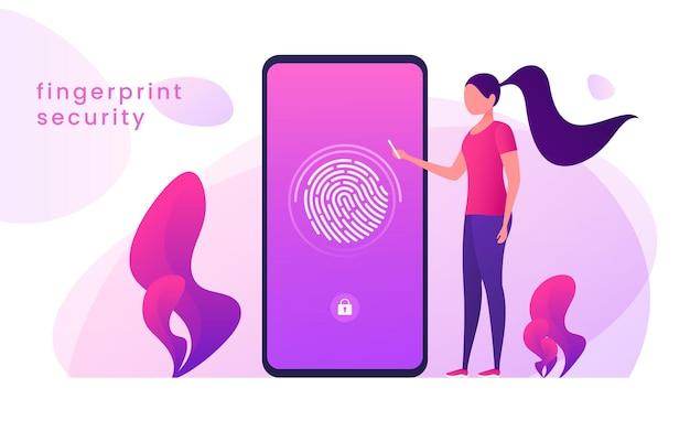 Reconhecimento de impressão digital, proteção de dados, acesso seguro, conceito de identificação do usuário.