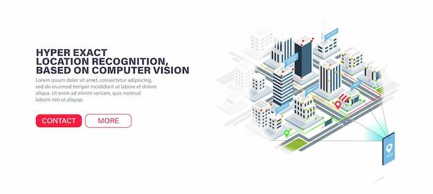 Reconhecimento de localização hiperexacta, baseado em visão computacional. navegação na cidade sem erros. orientação precisa na cidade.