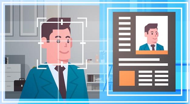 Reconhecimento de rosto tecnologia varredura homem de negócios moderno sistema de segurança biométrico identificação co