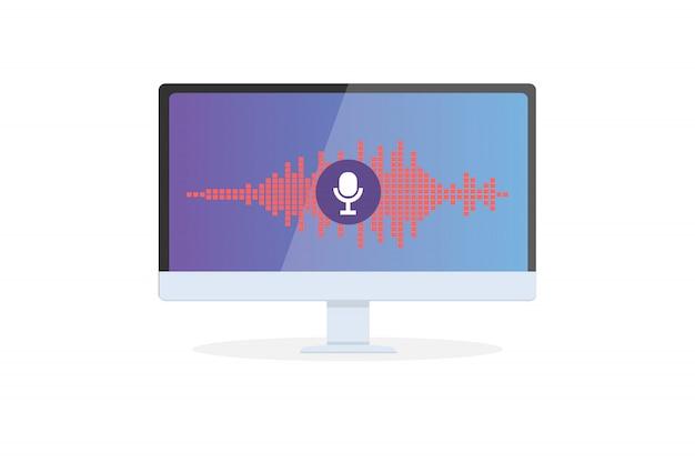 Reconhecimento de voz assistente pessoal no aplicativo móvel. ilustração do conceito de dispositivo com ícone de microfone na tela e linhas de imitação de voz e som.