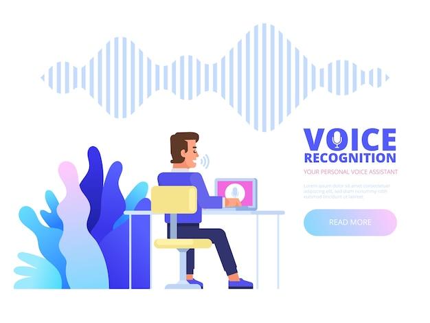 Reconhecimento de voz. conceito de tecnologia de ondas sonoras de reconhecimento de assistente pessoal de voz inteligente. ilustração