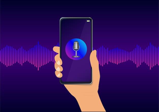 Reconhecimento de voz pessoal com microfone no telefone e onda sonora