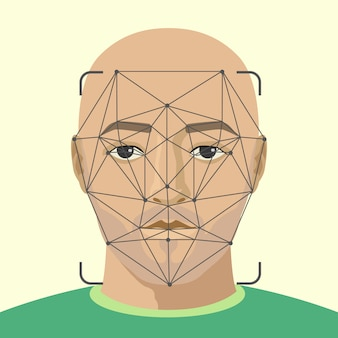 Reconhecimento facial. rosto de homem com digitalização de barba. pesquisa de vídeo por um criminoso.