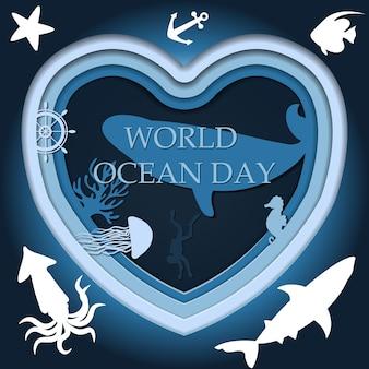 Recorte a imagem em papel do mundo subaquático ilustração vetorial no dia mundial do oceano em 8 de junho