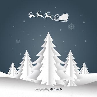 Recorte, árvores, natal, fundo