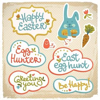 Recorte de páscoa feliz doodle elementos decorativos com coelhinho engraçado e feliz saudação ilustração vetorial