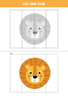 Recorte e cole o jogo para crianças. quebra-cabeça lógico educacional para pré-escolares. prática de corte para crianças. ilustração da cara do leão no estilo cartoon.