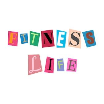 Recorte letras e colagens do alfabeto abc em várias cores fitness life