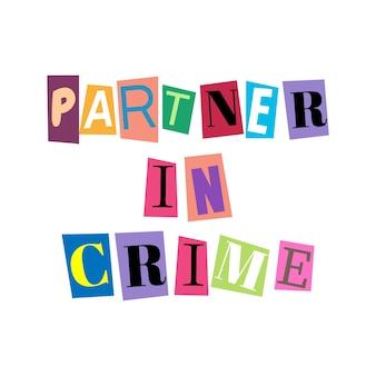 Recorte letras e colagens do alfabeto abc em várias cores parceiro no crime