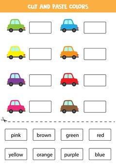 Recorte nomes de cores e cole-os. planilha para crianças.