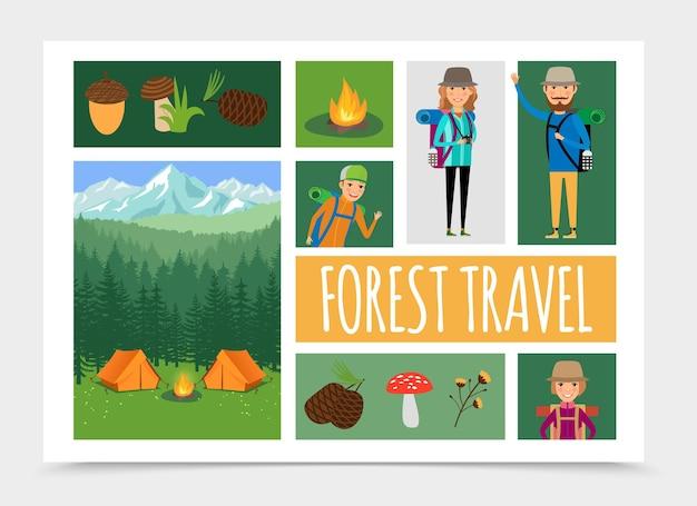 Recreação ao ar livre em família plana na ilustração da composição da natureza