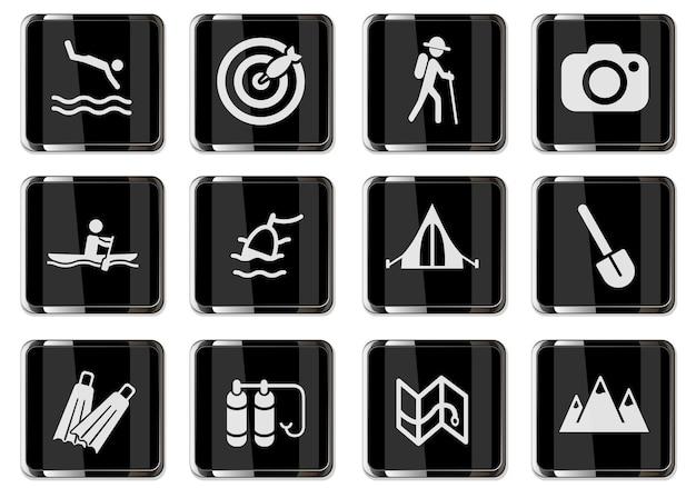 Recreação ativa e pictogramas de acampamento em botões cromados pretos. conjunto de ícones para design de interface de usuário