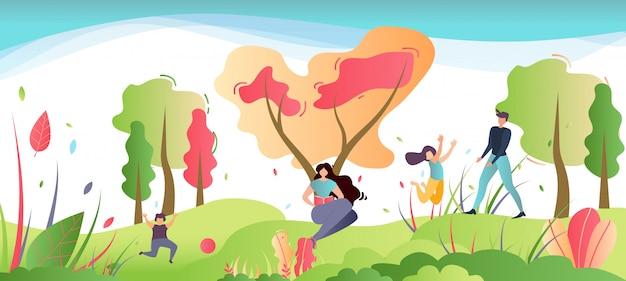 Recreação da família na ilustração dos desenhos animados da natureza