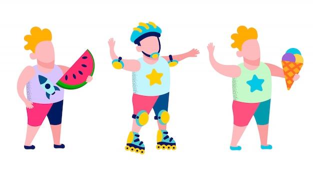 Recreação das crianças e cartão saboroso do petisco