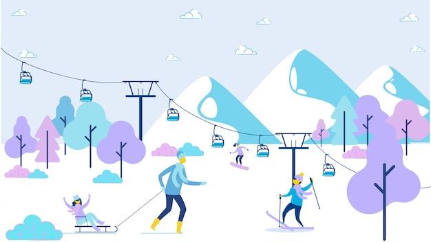Recreação de família feliz dos desenhos animados na estância de esqui