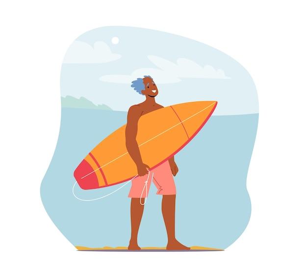 Recreação de surf para homem sênior, personagem em shorts na praia do oceano com prancha de surf