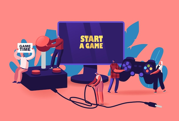Recreação de videogame, conceito de hobby. minúsculos personagens masculinos e femininos com enorme gamepad e joystick jogando videogame no play station console e monitor de computador. ilustração em vetor desenho animado