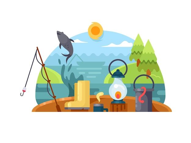 Recreação na pesca. pegar a vara de pescar com barco de madeira no rio. ilustração vetorial