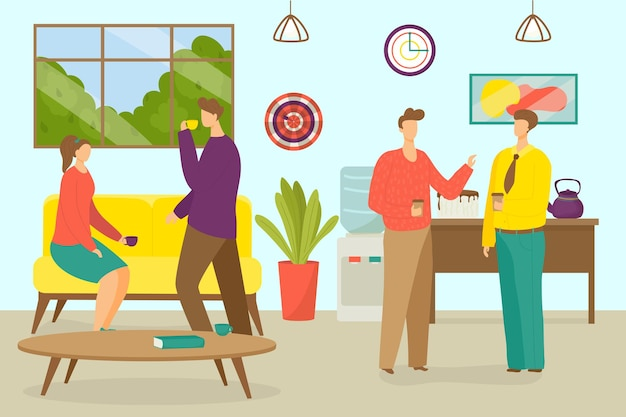 Recreação no escritório ilustração vetorial plana homem mulher trabalhador personagem tem pausa pessoas bebem cof ...
