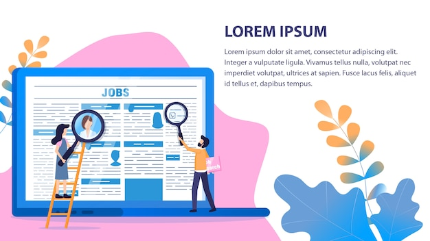 Recruitment article man mulher usar lupa