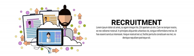 Recruitment human resources modelo de banner horizontal de conceito