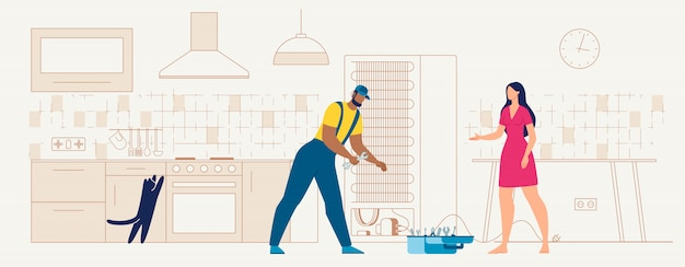 Recruta, reparar, refrigerador, ligado, cozinha
